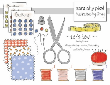 Hand Drawn Sewing Clip Art
